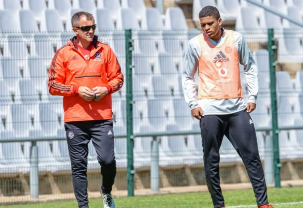 Orlando Pirates coach Micho Sredojevic and new defender Caio Marcelo.