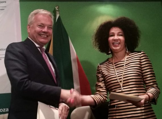 International Relations and Cooperation Minister Lindiwe Sisulu, right, hosted Belgium's Deputy Prime Minister Didier Reynders, who is also Minister of Foreign Affairs and European Affairs, Pretoria, 10 September 2018.
