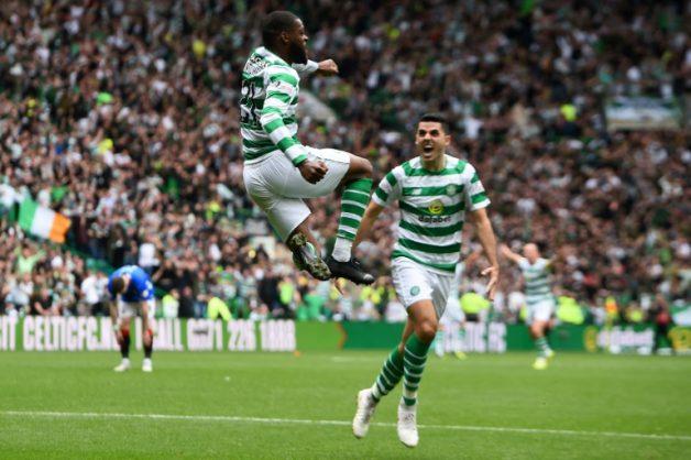 Olivier Ntcham celebrates opening the scoring for Celtic.