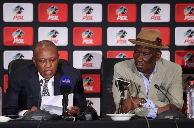PSL Chairman Irvin Khoza and Police Minister Bheki Cele addresses media during PSL Partnership Announcement at Emperors Palace (Gavin Barker/BackpagePix)