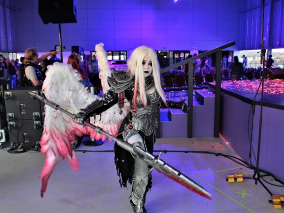 Cosplayer Jinxkittie Cosplay (Kelsey Atkins) posing for a photo in her award-winning cosplay from Comic Con Africa 2018.
