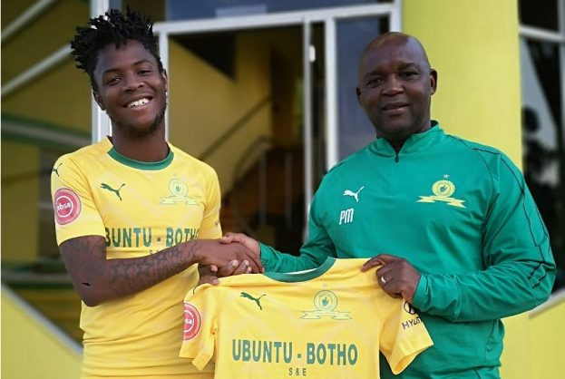 Phakamani Mahlambi with Mamelodi Sundowns coach Pitso Mosimane (Pic Sundowns)