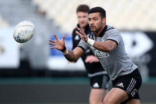 Richie Mo'unga of the All Blacks takes a pass during a New Zealand All Blacks training session at Trafalgar Park on September 6, 2018 in Nelson, New Zealand.  (Photo by Phil Walter/Getty Images)