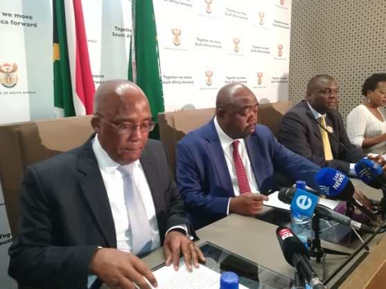 Minister of Public Works Thulas Nxesi, middle, and Health Minister Aaron Motsoaledi, left, at a joint media briefing in Pretoria, 7 September 2018. Picture: ANA