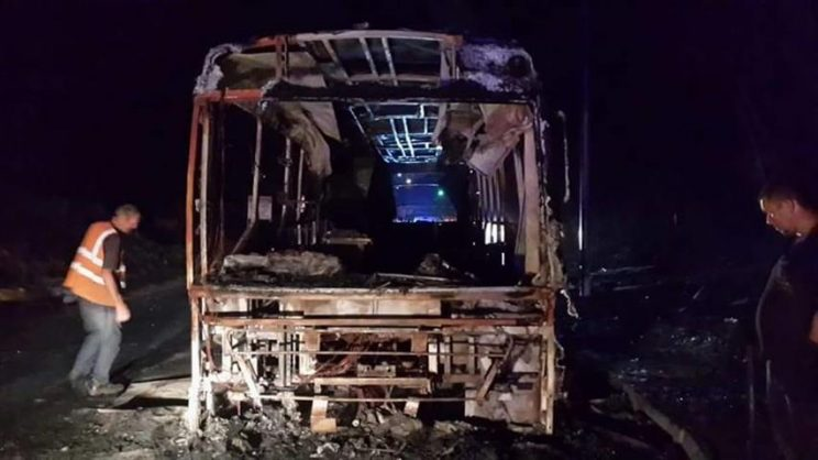 The municipal bus which was petrol-bombed over the weekend.