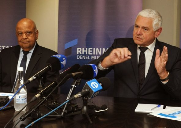 FILE PICTURE: Public Enterprises Minister Pravin Gordhan visited the Rheinmetall Denel Munition Site in Somerset West, 12 September 2018. Joining him at the press briefing was the company's former CEO, Norbert Schulze, right. - Picture: Tracey Adams - ANA