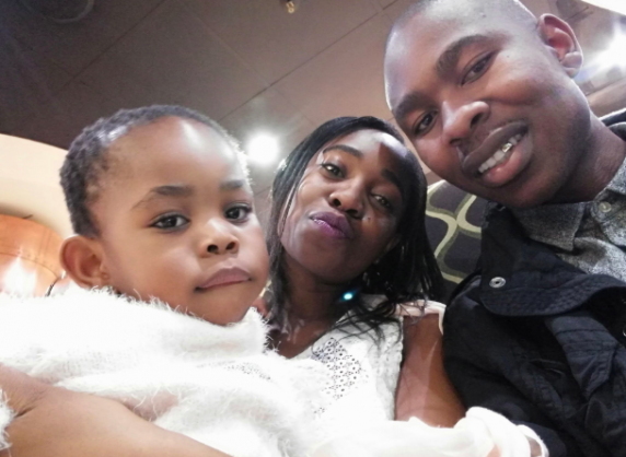 Johannesburg fire widow, Yuri Tseke with her late husband and their daughter, Nqobile | Image: Twitter