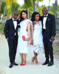 thembi seete engaged boyfriend child d Collen Mashawana at Lebo Gunguluza's wedding in Mauritius
