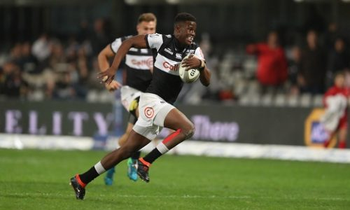 Aphelele Fassi of the Cell C Sharks during the Currie Cup match between Cell C Sharks and iCOLLEGE Pumas at Jonsson Kings Park on September 07, 2018 in Durban, South Africa. (Photo by Steve Haag/Gallo Images)