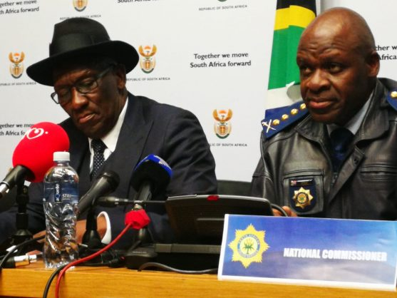 Police Minister Bheki Cele and national police commissioner and Lieutenant-General Khehla Sitole delivering the annual crime statistics, Cape Town, 11 September 2018. Picture: ANA