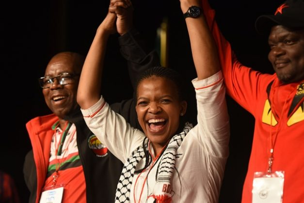 Newly elected Cosatu President Zingiswa Losi is congratulated at their 13th National Congress held at Gallagher Estate in Midrand, 20 September 2018.  Picture: Neil McCartney