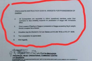 Limpopo police deny trending 'police' document allowing 3kg dagga