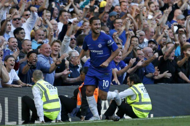 Chelsea star Eden Hazard celebrates after scoring against Bournemouth.