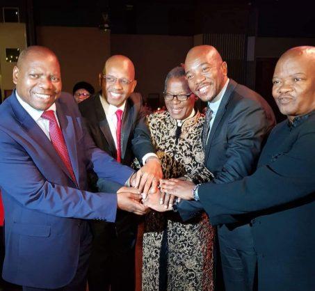 ANC NEC member Zweli Mkhize, EFF chairpairson Dali Mpofu, IFP leader Mangosuthu Buthelezi, DA leader Mmusi Maimane and UDM leader Bantu Holomisa at the IFP leader's gala dinner. Picture: Mkhuleko Hlengwa/Twitter