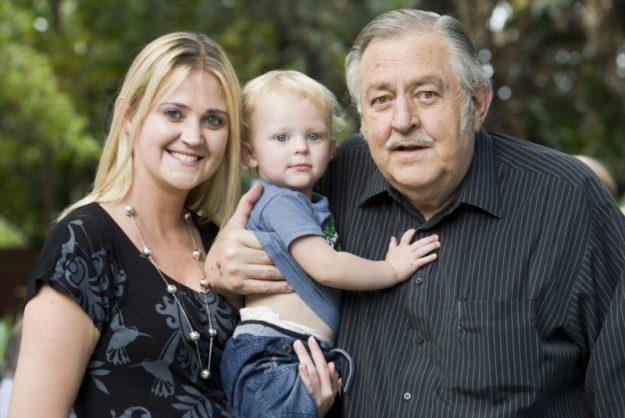 Former Foreign affairs minister Pik Botha with his daughter Natasha Arde and great grandson Philip Adrian Arde at his home in Pretoria, South Africa on April 27, 2012. Botha celebrated his 80th birthday and his 14th wedding anniversary by inviting all his friends and family to their small holding in Pretoria. (Photo by Gallo Images / Foto24 /Lisa Hnatowicz)
