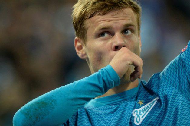 Russian footballer Alexander Kokorin in action for Zenit Saint Petersburg against Slavia Prague.. AFP/File/Olga MALTSEVA