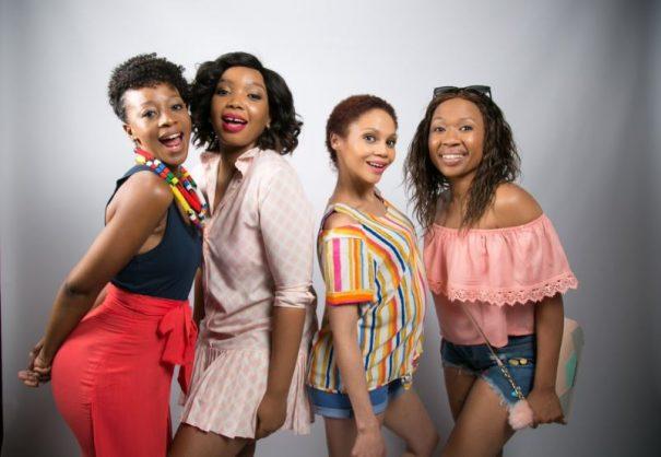 Salamina Mosese, Thembisa Mdoda, Kay Smith and Dineo Ranaka in Baby Mamas. Picture: Supplied