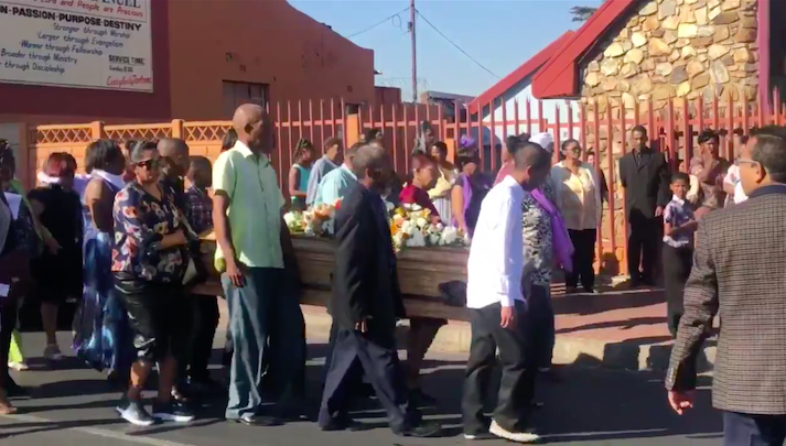 Westbury residents carry Heather Peterson's coffin to the cemetery | Image: Twitter