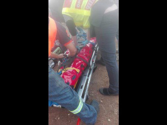 Paramedics stabilise Thabang Moloto on the scene. Photo: Archive
