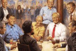 Trump hangs painting of himself with Republican presidents