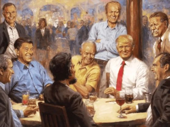 Trump Hangs Painting Of Himself With Republican Presidents