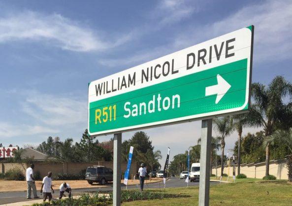 William Nicol Drive sign, Johannesburg. Picture: Twitter
