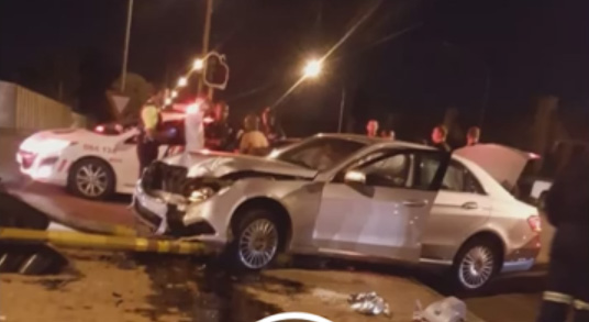 One of the accident scenes on the P91 on Saturday night.