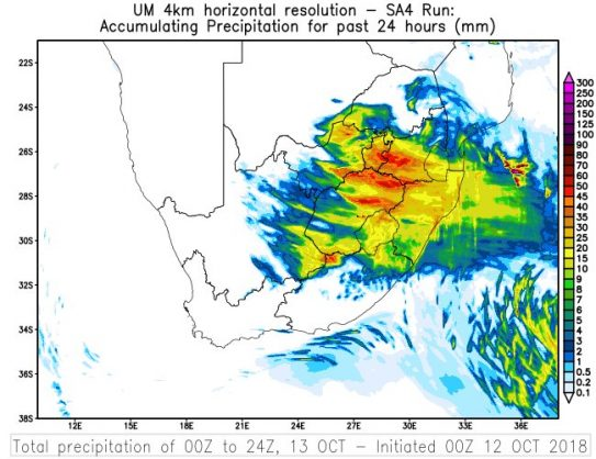 A graph of this weekend's extreme weather. Image: Twitter/@SAWeatherServic