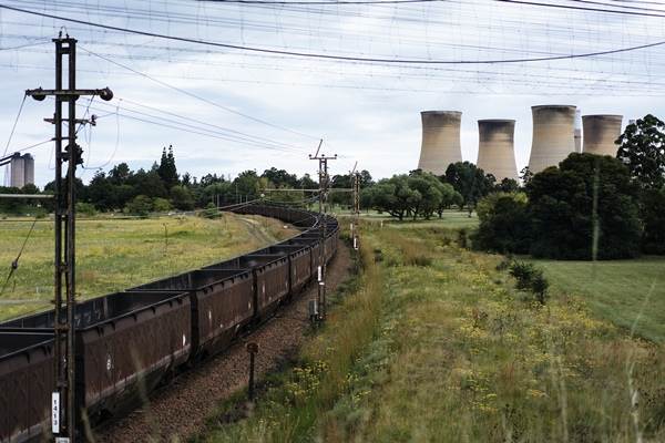 A freight train leaves the Eskom power plant in Hendrina on February 22, 2018, after having discharged its load of coal. Picture: MARCO LONGARI / AFP