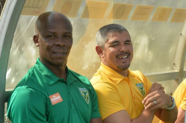 Golden Arrows assistant coach Mandla Ncikazi and Coach Clinton Larsen during the Absa Premiership match between Highlands Park and Golden Arrows at Makhulong Stadium on November 20, 2016 in Johannesburg, South Africa. (Photo by Lefty Shivambu/Gallo Images)