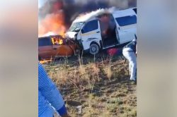 WATCH: Trapped driver burns following head-on collision with taxi