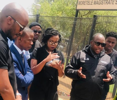 Incredible Happenings Ministries leader, Pastor Paseka 'Mboro' Motsoeneng, second right, joined #NotInMyName activists picketing at the Moretele Magistrate's Court in Pretoria at the trial of a man who allegedly killed his girlfriend, 7 November 2018. Picture: ANA