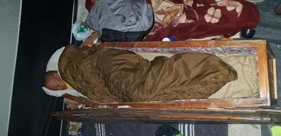 Khoisan activist and African National Congress (ANC) member of the provincial legislature (MPL) Christian Martin spent the weekend sleeping in a coffin in front of the Eastern Cape premier's office in Bisho. Picture: Supplied