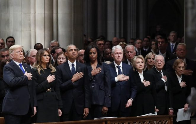 (L-R) US President Donald Trump, US First Lady Melania Trump, former US President Barack Obama, former First Lady Michelle Obama, former US President Bill Clinton, former US Secretary of State Hillary Clinton, and former US President Jimmy Carter and former First Lady  Rosalynn Carter participate in the State Funeral for former US President George H.W. Bush, at the National Cathedral, on December 5, 2018 in Washington, DC. (Photo by Alex Brandon / POOL / AFP)