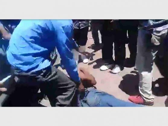 A mob meted out people's justice to two men who allegedly robbed a woman of her hard-earned money in Boksburg town. Picture: Boksburg Advertiser.