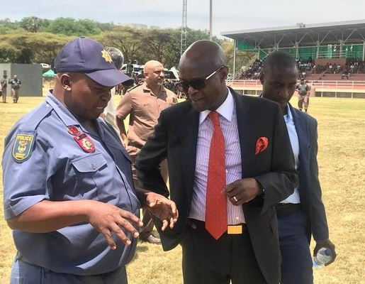 Correctional Services Deputy Minister Thabang Makwetla, front right, inspected a parade by tactical teams before liaising with different police and correctional services officers taking part in a festive season clampdown to avoid escapes from South Africa's jail's during the festive season, Pretoria, 3 December 2018. PHOTO: Jonisayi Maromo /ANA