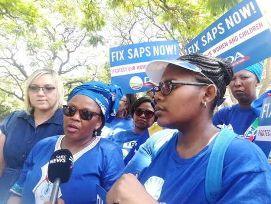 Gauteng Democratic Alliance Network spokeswoman Nomafrench Mbombo speaking  to the media outside the South African Police 1d6199f2b821