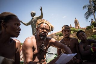 Protesting Khoisan claim they have been told to move to allow grass to grow