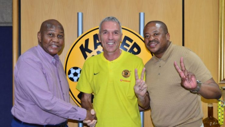 Kaizer Chiefs chairman Kaizer Motaung,, coach Ernst Middendorp and football manager Bobby Motaung.