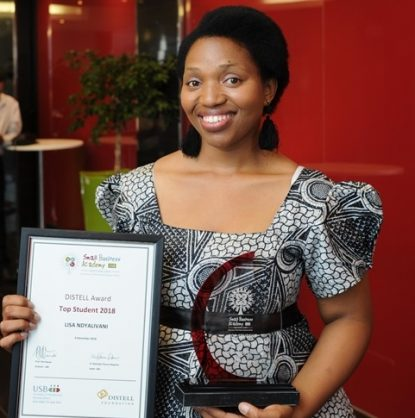 Lisa Ndyalivani, 33, owner of WooWfoods, a mobile coffee shop taking hot coffee and healthy food to commuters, students and workers in Bellville, was named the Distell Top Student with the highest mark overall after completing the sponsored nine-month development programme aimed at empowering small business owners in disadvantaged areas to grow their businesses. The Small Business Academy awards ceremony took place on 4 December 2018.