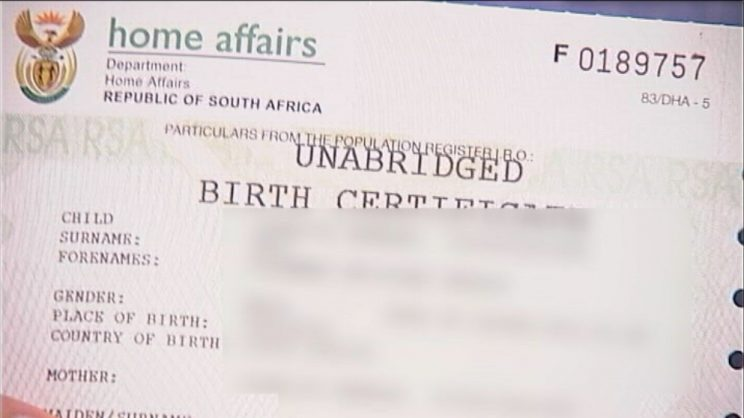 An example copy of the South African unabridged birth certificate. Picture: Homecoming Revolution