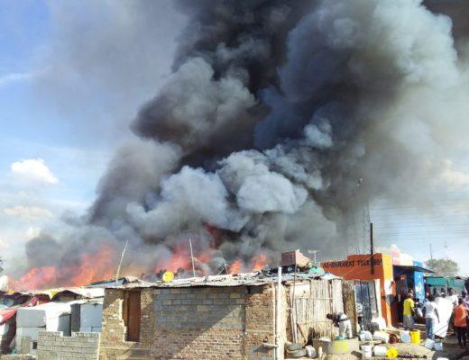Shacks on London Road and 18th Avenue burn. Photo: Nduduzo Nxumalo