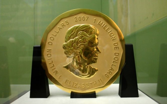 Police have found no trace of the 100-kg (220-lb) Canadian coin since the elaborate 2017 late-night heist at Berlin's Bode Museum. dpa/AFP/File/Marcel Mettelsiefen