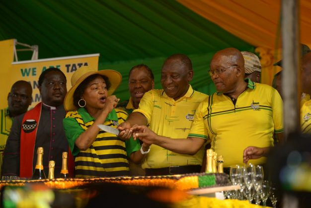 Baleka Mbete, Cyril Ramaphosa and Jacob Zuma at the 107th birthday January 8 statement of the party. Picture: ANC/Twitter