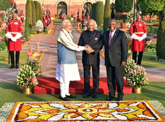 President Cyril Ramaphosa with President Ram Nath Kovind greet diplo​mats at the official luncheon held at the Forecourt, Presidential Palace on the occasion of the State Visit at the invitation of Prime Minister Narendra Modi. Picture: Presidency/Twitter