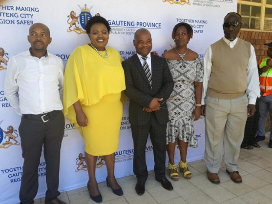 The Gauteng MEC for Community Safety, Sizakele Nkosi-Malobane, second left, at Emanzini Primary School in Sebokeng. Picture: Supplied by the department.