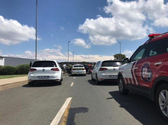 The scene of the shooting in Modderfontein on Tuesday. Photograph: ER24