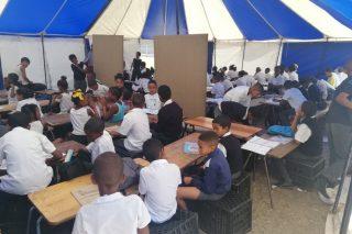 Belhar school houses overspill of learners in a tent