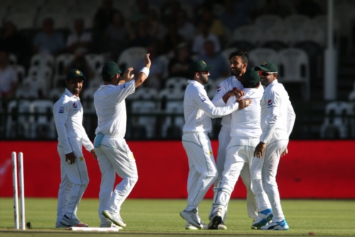 Shan Masood of Pakistan is congratulated for bowling Aiden Markram of South Africa during day 1 of the 2nd Castle Lager Test match between South Africa and Pakistan at PPC Newlands on January 03, 2019 in Cape Town, South Africa. (Photo by Shaun Roy/Gallo Images)