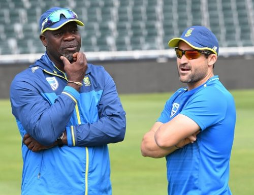 Ottis Gibson (Coach of the Proteas) and Dean Elgar of the Proteas during the South African national cricket team training session and press conference at Bidvest Wanderers Stadium in Johannesburg on January 10,2019 in Johannesburg, South Africa. (Photo by Lee Warren/Gallo Images)